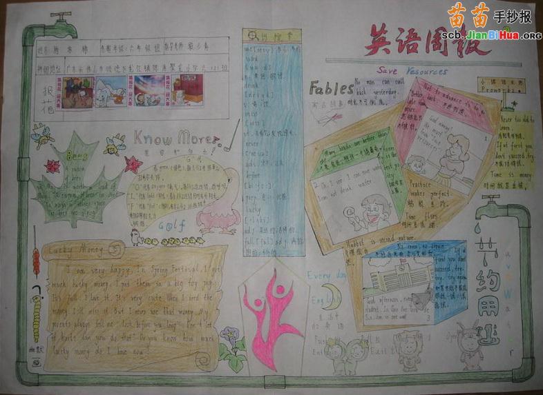 design 小学二年级节约用水手抄报作品一  节约水资源手抄报内容_节约