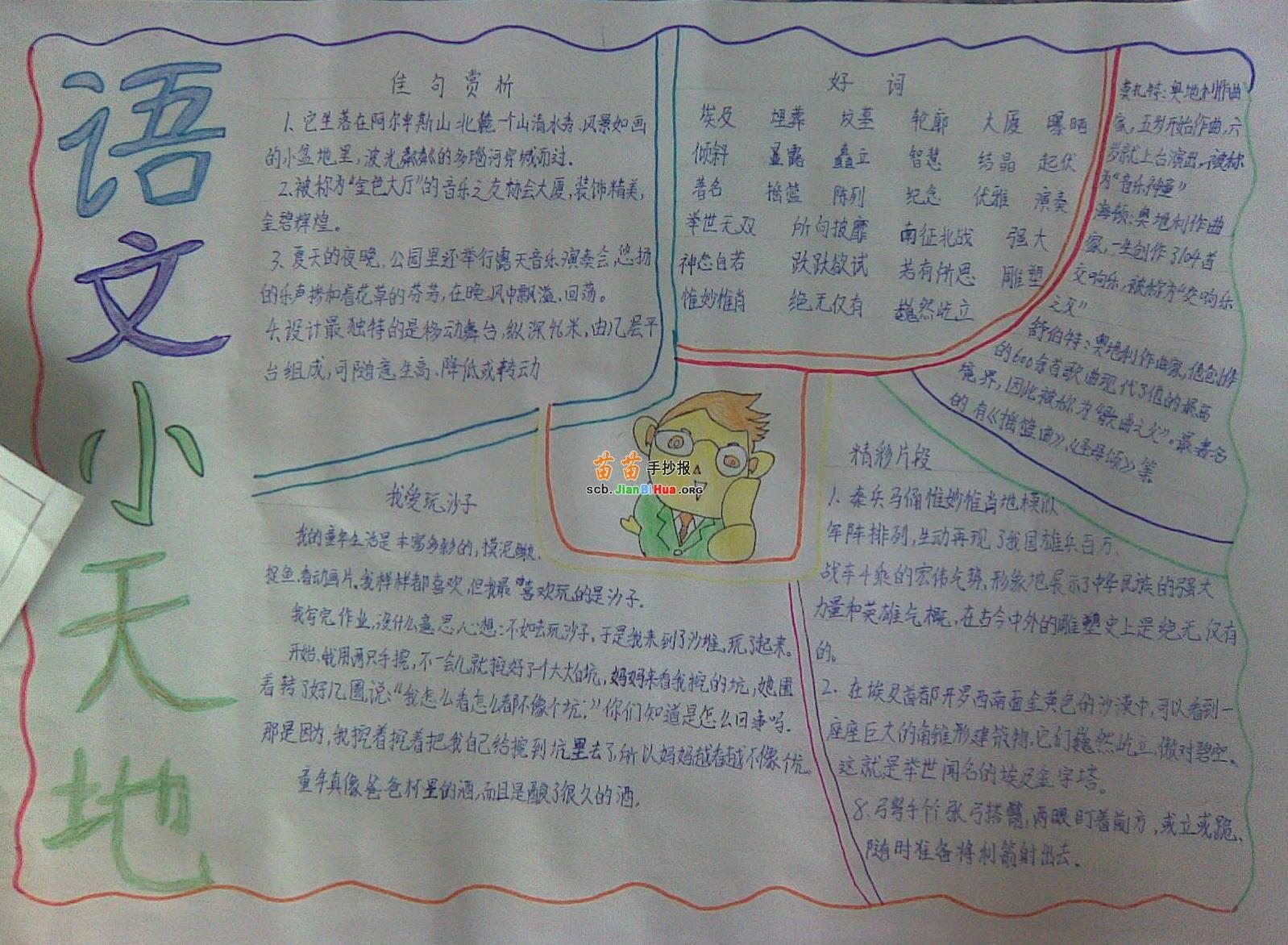 苗苗手抄报 语文手抄报 >> 正文内容   关于语文的手抄报资料:常用