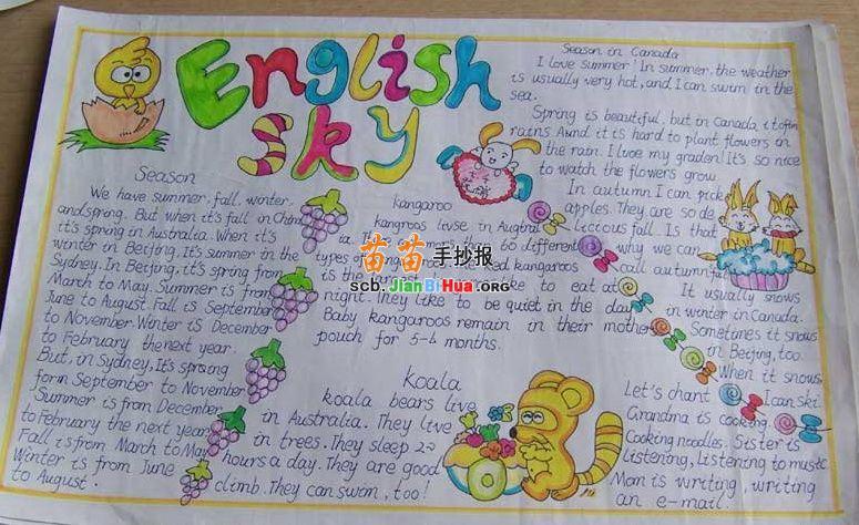 中学生英语手抄报内容