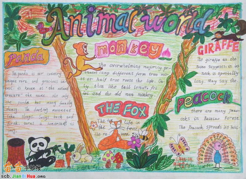 关于动物世界的英语手抄报图片