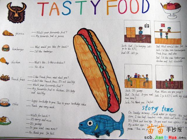 美味的食物英语手抄报