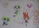 幼儿卡通人物与床手抄报